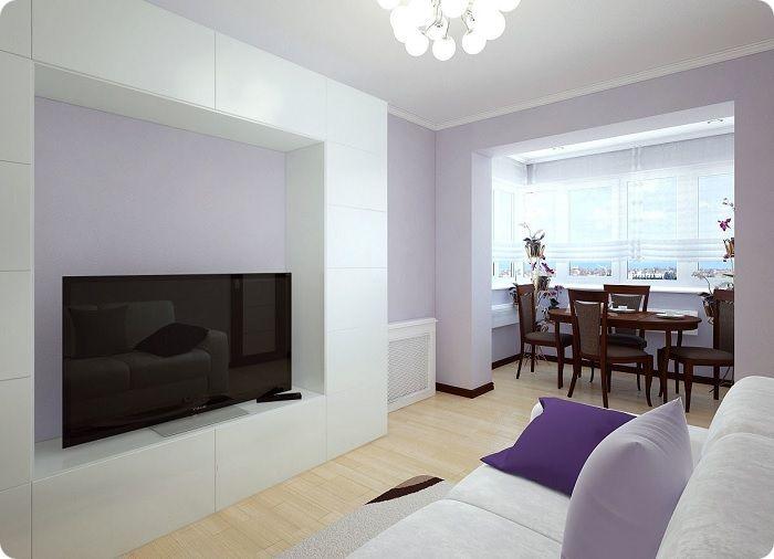 Гостиная, совмещённая с балконом, обеденная зона.