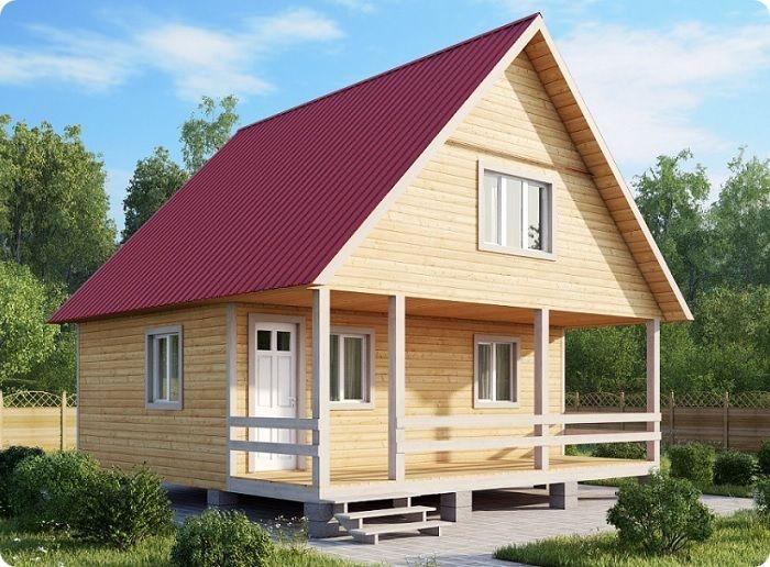 Дом с двускатной крышей.