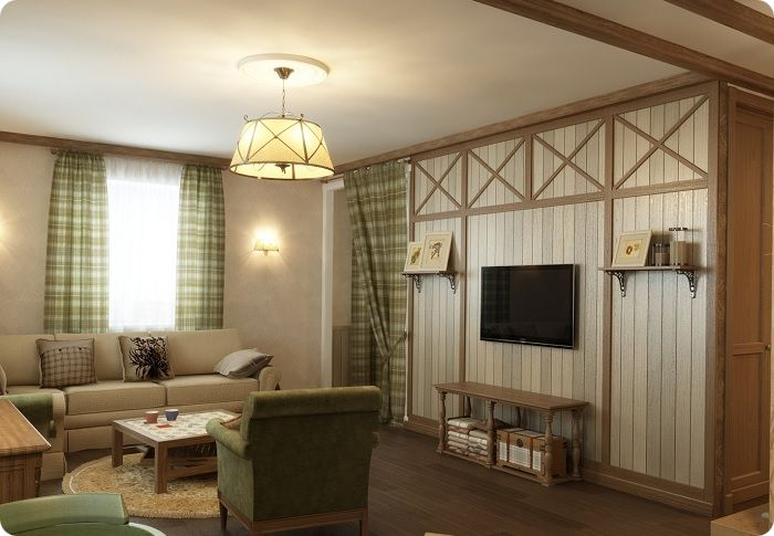 Гостиная в деревенском стиле.