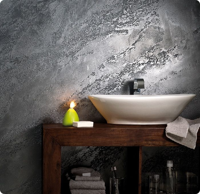Декоративная штукатурка для ванной комнаты.