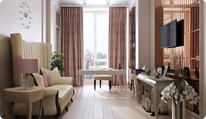 Небольшая уютная гостиная 2021.