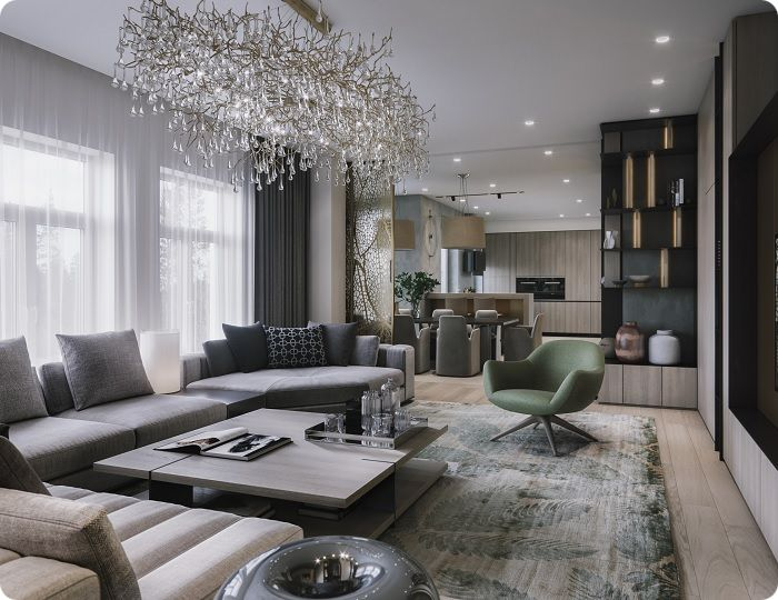 В 2021 году дизайнеры предлагают оформить интерьер гостиной с учётом личных представлений об идеальном пространстве, где совмещены такие направления, как комфорт, близость к природе, индивидуальность, эргономичность, контраст цветов с гармонией простых форм и очертаний.