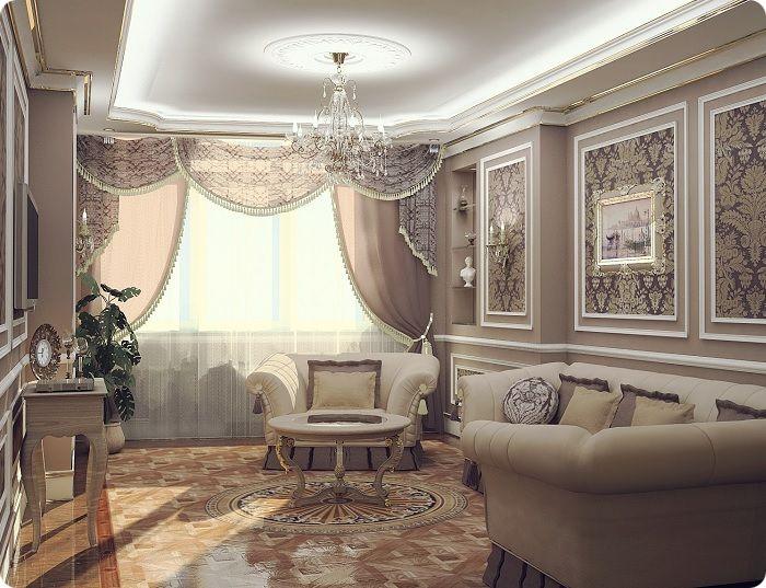 Гостиная, оформленная в классическом стиле с паркетом.