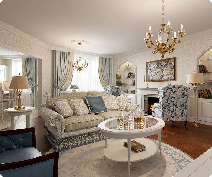Гостиная, оформленная в классическом стиле с камином.