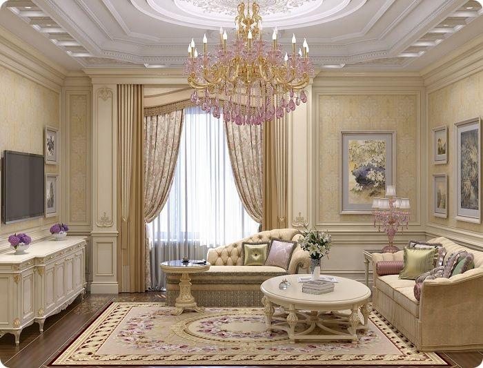 Гостиная, оформленная в классическом стиле.