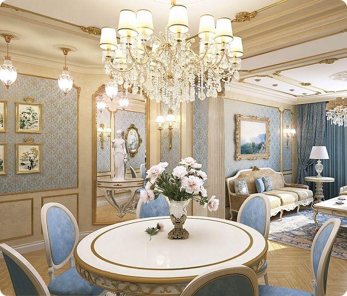 Люстра — главный источник освещения в классической гостиной.