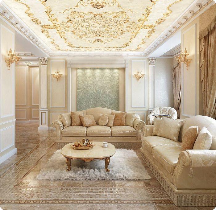 Гостиная, оформленная в классическом стиле, плитка.