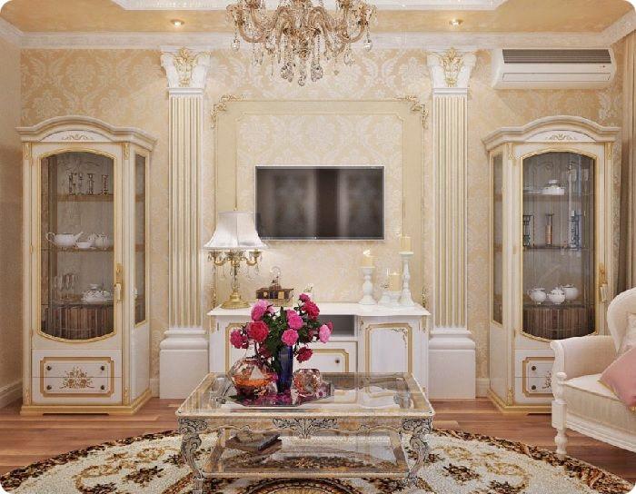 Гостиная, оформленная в классическом стиле, симметрия.