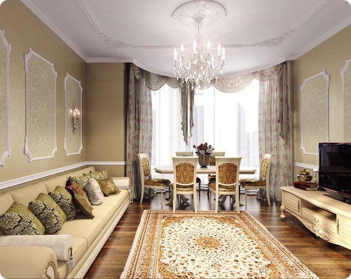 Гостиная, оформленная в классическом стиле со столом.