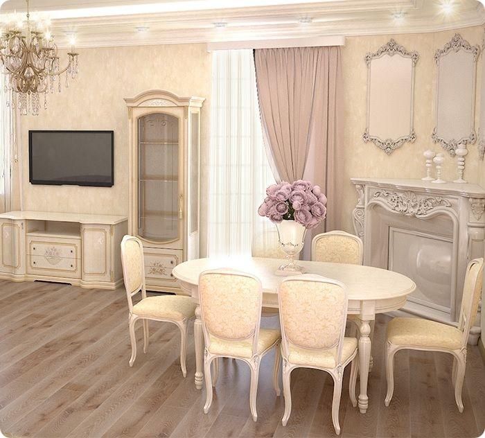 Гостиная, оформленная в классическом стиле с обеденной зоной.