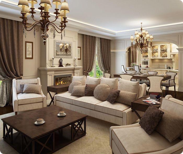 Гостиная в современном классическом стиле.