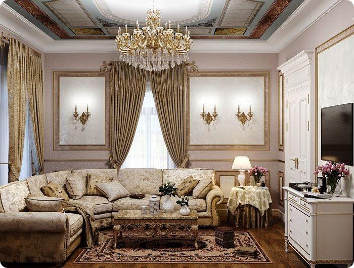Шторы в классической гостиной.