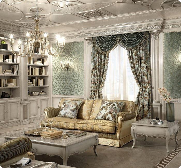 Классическая гостиная со шторами.
