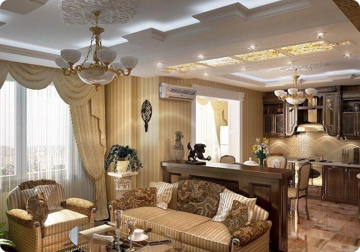 Классическая кухня, совмещённая с гостиной.