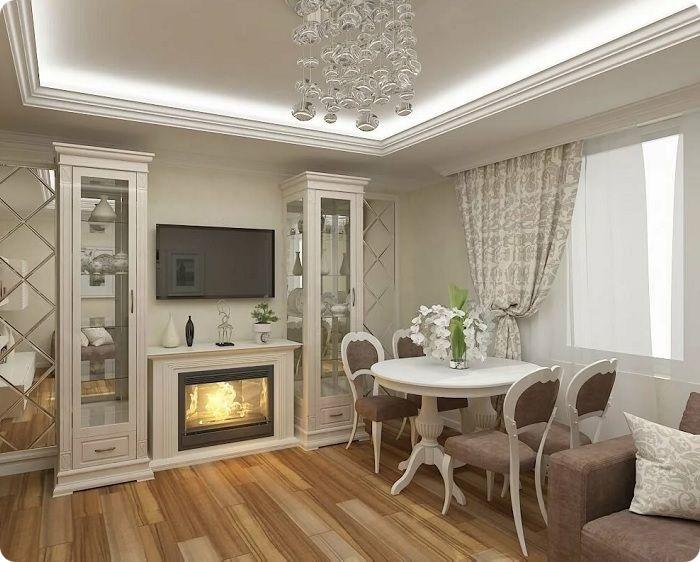 Гостиная, оформленная в классическом стиле в тёплых тонах с камином.