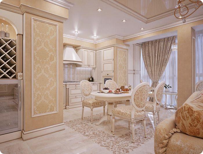 Кухня, совмещённая с гостиной в классическом стиле.