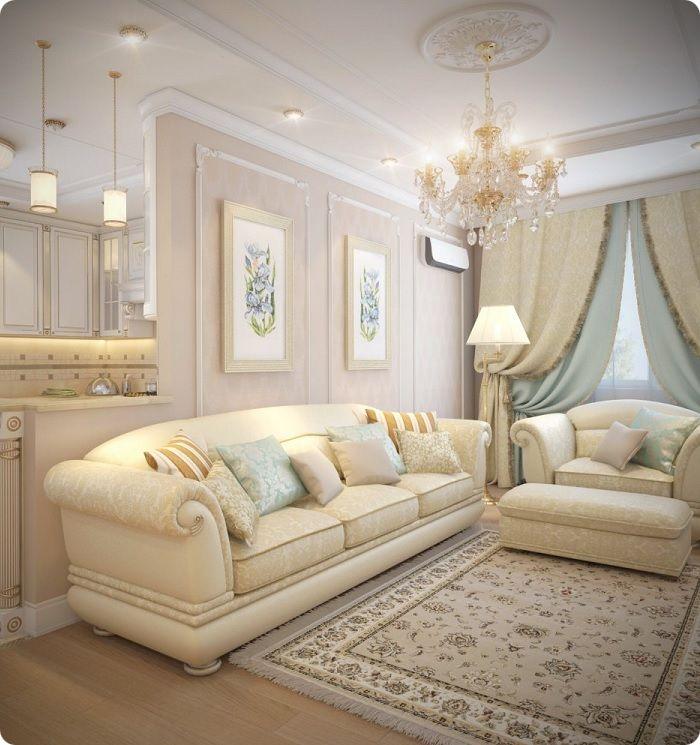 Гостиная, оформленная в классическом стиле, текстиль, ковёр.