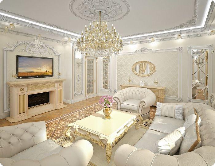 Гостиная, оформленная в классическом стиле в светлых тонах.