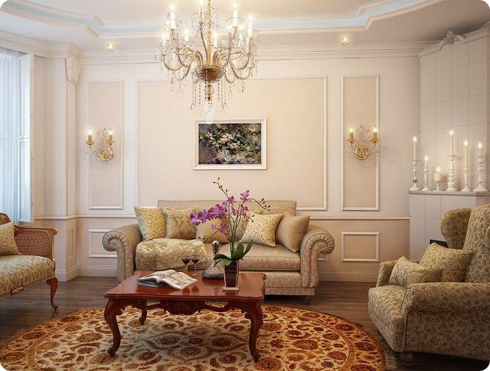 Гостиная, оформленная в классическом стиле в тёплых тонах.