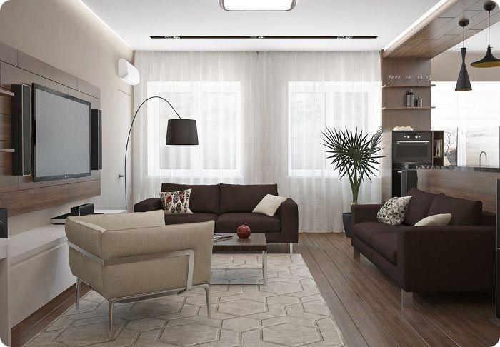 Гостиная, оформленная в современном стиле.