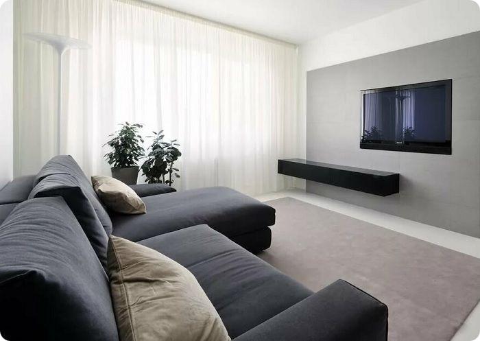Гостиная, оформленная в стиле минимализм.