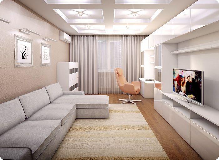 Прямоугольный длинный ковёр подчёркивает планировку гостиной.