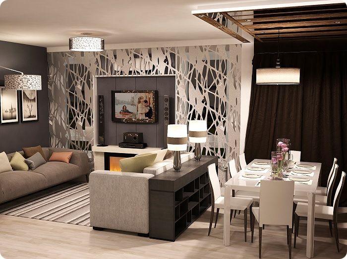 Разделение столовой и гостиной стеллажом.