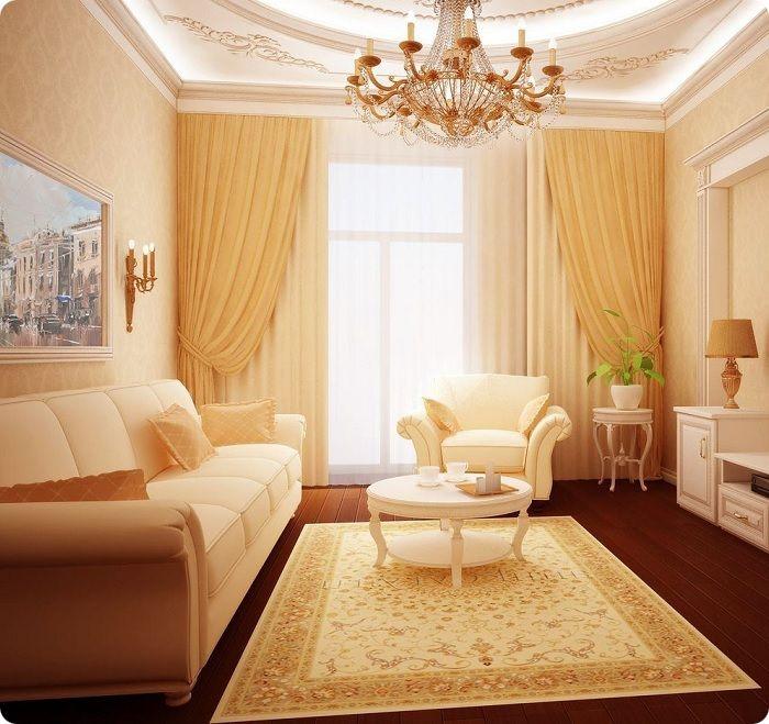 Гостиная 20 кв. м в классическом стиле.