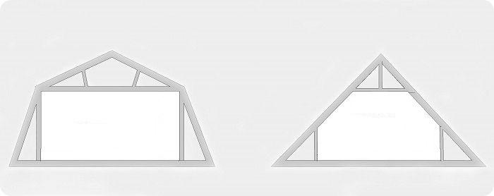 Ломаная и двускатная крыши.