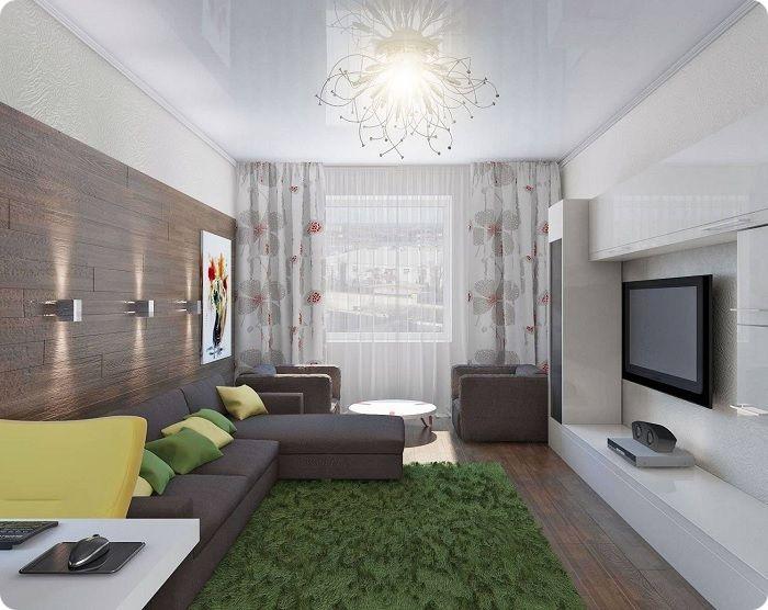 Самая популярная планировка прямоугольной гостиной — окно располагается на короткой по длине стене, а дверь — напротив него.