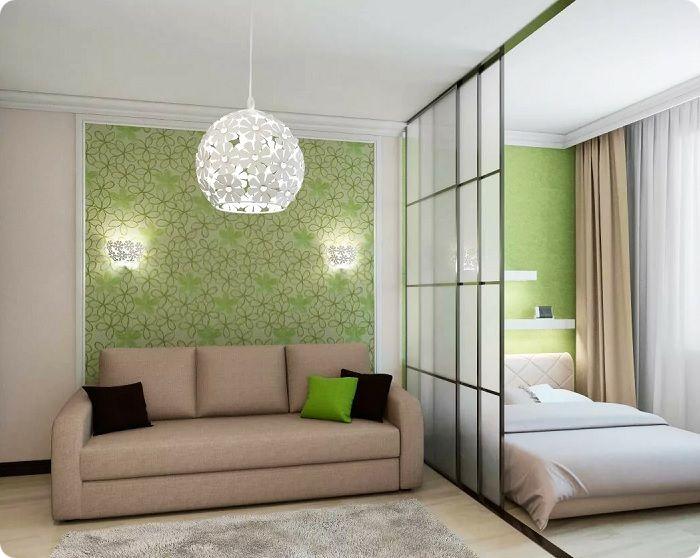 Зонирование в гостиной, совмещённой со спальней.