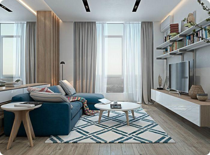 Гостиная 20 кв. м в скандинавском стиле.