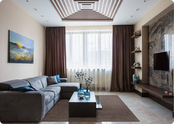 Гостиная 20 кв. м в современном стиле.