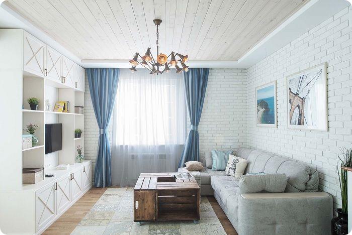 Гостиная 20 кв. м в средиземноморском стиле.
