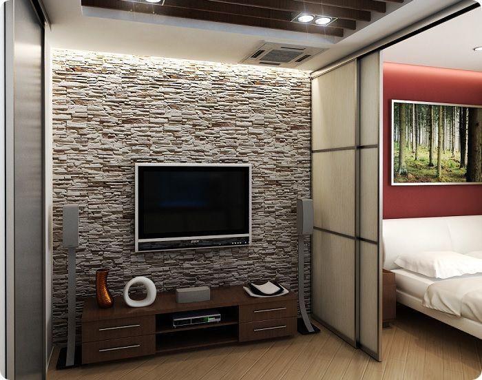 Размещение телевизора в спальне-гостиной.