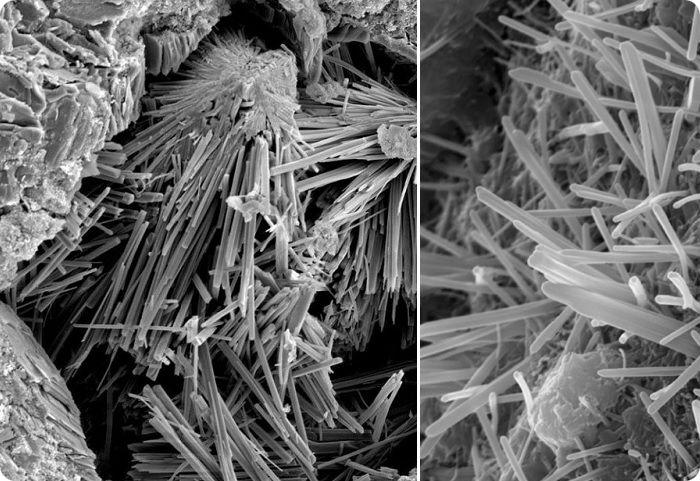 Эттрингит (цементная бацилла) под микроскопом.