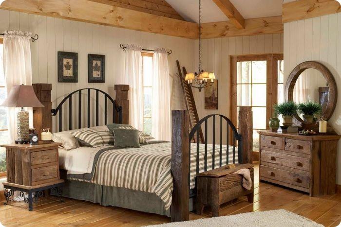 Кровать может быть кованой или деревянной — в зависимости от предпочтений хозяев дома, дополнить убранство помещения сможет тематический резной комод, прикроватные тумбочки из массива, добротный шкаф с глухими дверцами.