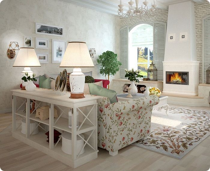 Стиль с нотками французской глубинки отличается от аналогичных более светлых тонов. В оформлении преобладает натуральное дерево, выбеленное или выкрашенное в пастельные тона.
