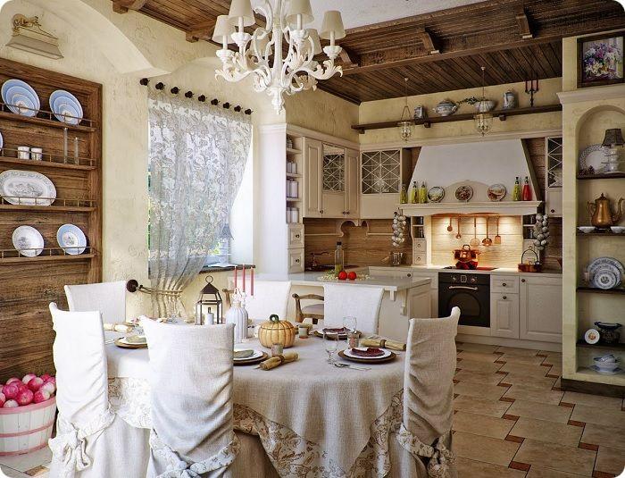 Кухня в деревенском стиле в светлых тонах.