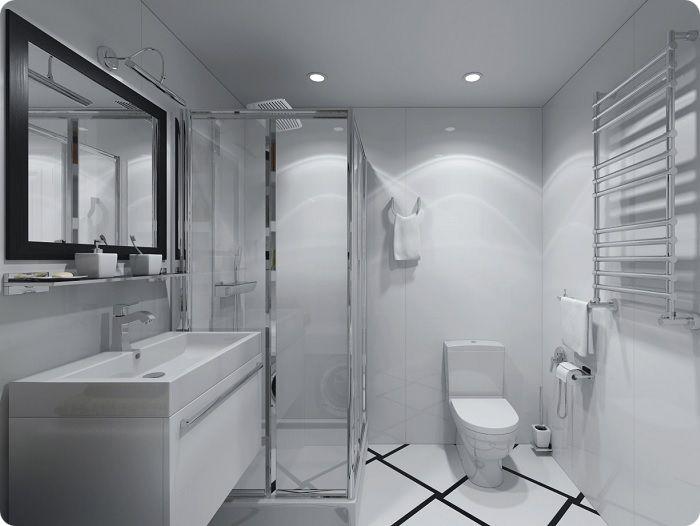 Ванная комната с душевой кабиной в стиле хай-тек.