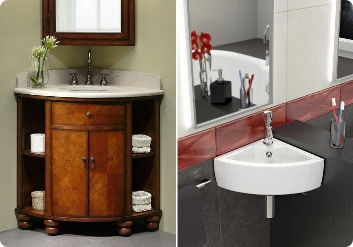 Угловая мебель (полки, шкафчики) и угловой умывальник экономят площадь, привнося в дизайн нотку стильности.