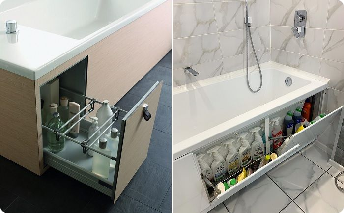 Место под купальной чашей используют для оборудования шкафа.