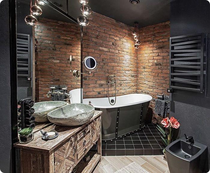 Помещение ванной можно отделать в более дешёвых стилях, например, лофт, при этом комната будет смотреться современно и стильно.