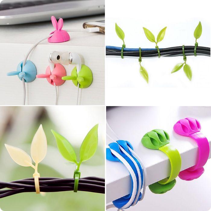 Декоративные клипсы удерживают провода, но, в отличие от обычных бытовых держателей, клипсы или зажимы необычно смотрятся в связи с различным декоративным наполнением.