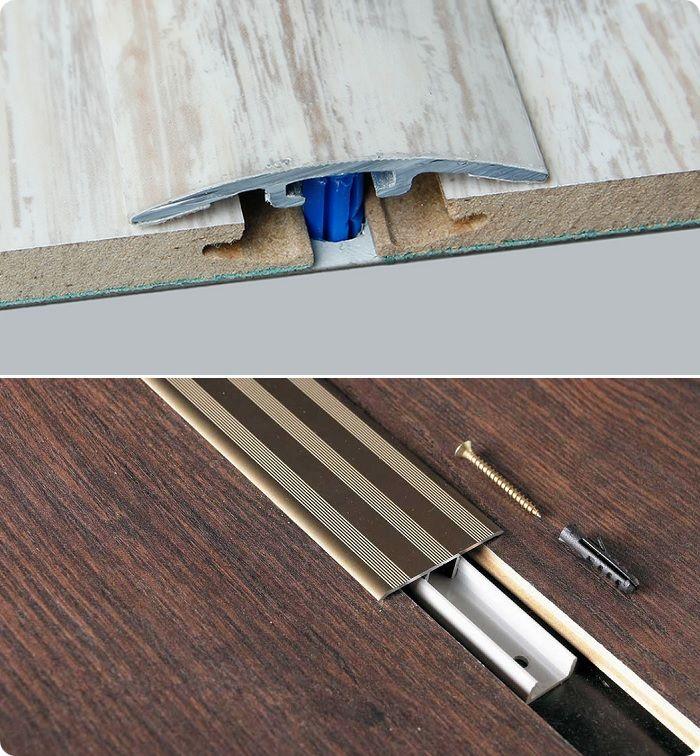Специальные пороги со скрытым кабель-каналом помогают скрыть провода в местах, где они пересекают пол на открытом пространстве.