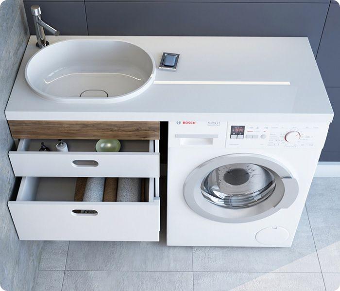 Стиральную машинку с горизонтальной загрузкой располагают под умывальником.