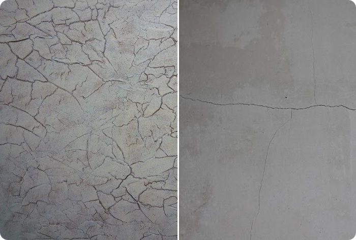 Трещины на цементной штукатурке.