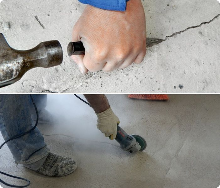Расшивка трещин в бетонной стяжке.