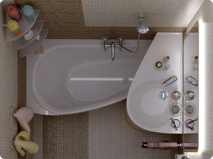 Умывальник со столешницей располагают так, чтобы её край немного нависал над ванной. На этой подставке размещают средства гигиены и банные принадлежности.