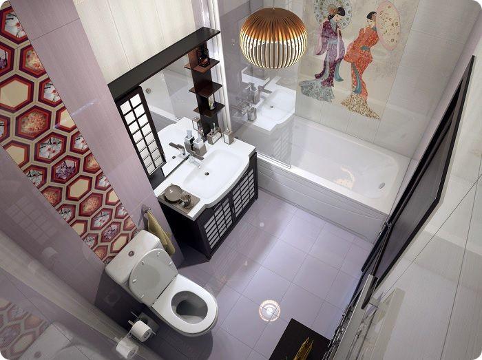 Оригинальный дизайн ванной в японском стиле.